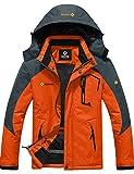 GEMYSE wasserdichte Skijacke für Herren Winddichte Fleece Outdoor-Winterjacke mit Kapuze (Orange Grau,L)