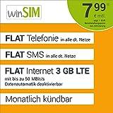 winSIM LTE All 3 GB Allnet Flat - monatlich kndbar (FLAT Internet 3 GB LTE mit max. 50 MBit/s mit deaktivierbarer Datenautomatik, FLAT Telefonie, FLAT SMS und EU-Ausland, 7,99 Euro/Monat)