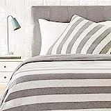 AmazonBasics - Bettwsche-Set, Jersey, breite Streifen, 135 x 200 cm / 80 x 80 cm, Grau