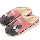 SAGUARO Winter Baumwolle Pantoffeln Plüsch Wärme Weiche Hausschuhe Kuschelige Home rutschfeste Slippers mit Cartoon für Herren Damen, 39/40 EU=40/41 CN Pink