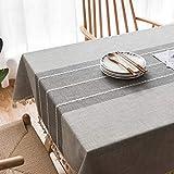 Topmail Rechteckige Tischdecke Tischwäsche abwaschbare Tischtuch aus 80% Baumwolle und 20% Leinen Geeignet für Home Küche Dekoration