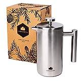 Groenenberg French-Press aus Edelstahl 1 Liter Kaffee-Bereiter doppelwandig | Kaffee-Presse inkl. Ersatzfiltern | Coffee-Press Espressokocher