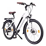 NCM Milano 48V, 26' Urban Trekking E-Bike Elektrofahrrad Pedelec, 250W 13Ah 624Wh, weiß, schwarz (Weiß, 26')