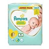 Pampers Premium Protection Softest Comfort Windeln, Jumbo-Pack, zugelassen von British Skin Foundation, Größe 1, 144 Stück