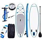 YUEBO 305cm Aufblasbares SUP Stand-up Paddel Board 15cm Dickes, iSUP Paddle Board mit Einzelhub-Pumpe + 3-TLG. verstellbares Paddle + Grosse Tragetasche