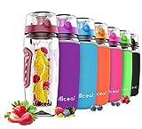 willceal Wasserflasche mit Fruchteinsatz 945 ml –Hochwertig und beständig – Groß, BPA-frei, aus Tritan – Aufklappbarer Deckel mit Tragegriff – Auslaufsicheres Design