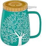 amapodo Teetasse mit Deckel und Sieb - Porzellan Tee Tasse groß 600ml - XXL Tassen Set Türkis - plastikfrei