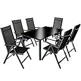 TecTake 800355 Aluminium Polyrattan 6+1 Sitzgarnitur Set, 6 Klappstühle & 1 Tisch mit Glasplatten - Diverse Farben (Dunkelgrau | Nr. 402166)