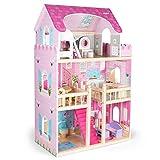 Kledio Puppenhaus aus Holz für Mädchen und Jungen ab 3 Jahren, extra große XL Puppenstube, Kinder Spielzeug aus Holz FSC 100%, inkl. 16-teiliges Zubehör