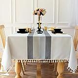 Carvapet Rechteckige Tischdecke Abwaschbar Tischtuch Baumwolle Leinen Gestickt Quaste Tischdecken Tischabdeckung für Speisetisch Küchentisch (Grauer Streifen Quaste, 140x180CM)