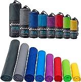 Fit-Flip Sporthandtuch, Reisehandtuch, Microfaser-Badetuch, XXL Strandhandtuch, Sauna Microfaser Handtuch groß (2X 30x50cm dunkelblau + 1 Tasche)