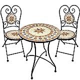 dszapaci Gartengarnitur Mosaiktisch 2 Stühle Mosaik Sitzgarnitur Bistrotisch Mit Stühlen Sitzgruppe Balkonset Balkonmöbel Balkontisch Mit Stühlen