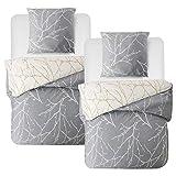Bedsure Baumwolle Bettwsche 135x200 cm 4 teilig Grau/Beige Bettbezug Set mit schickem Zweige Muster, weiche Flauschige Bettbezge mit Reiverschluss und 2 mal 80x80cm Kissenbezug