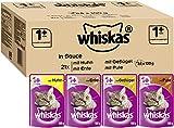 Whiskas 1 + Katzenfutter , Geflügel-Auswahl in Sauce, 84 x 100g