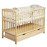Gitterbett Babybett 2in1 60x120 mit Schublade Schlupfsprossen und Lattenrost Höhenverstellbar Umbaubar zum Juniorbett für Mädchen und Junge