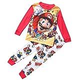 Heißer Cartoon Super Mario Baby Kinder Mädchen Jungen Freizeit Kleidung Sets Nachtwäsche Nachtwäsche Pyjamas Baby Jungen Kleidung Set Baby Jungen Kleidung Set 1-7Y (Mehrfarbig, 5-6 Jahre)
