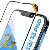 UTECTION 2X Full Screen Schutzglas 3D für iPhone 13/13 PRO (6.1') - Perfekte Anbringung Dank Rahmen - Premium Displayschutz 9H Glas, Kompletter Schutz Vorne, Folie Schutzfolie Vollglas - 2 Stück