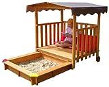 GASPO Spielhaus für Kinder, Sandkasten aus Holz mit Abdeckung, 220 cm x 133 cm x 144 cm, TÜV-geprüft