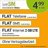 winSIM Handyvertrag LTE All 2 GB - ohne Vertragslaufzeit (Flat Internet 2 GB LTE mit max. 50 MBit/s mit deaktivierbarer Datenautomatik, Flat Telefonie, Flat SMS und EU-Ausland, 4,99 Euro/Monat)