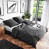 Wolkenfeld Bettwäsche 135x200 Baumwolle Grau - Atmungsaktiv - Renforcé Bettwäsche-Set mit 1x Bettbezug 135 x 200 + 1x Kissenbezug 80x80 - Anthrazit