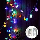 Lichterkette Batterie, 7M 60 LED Globe Lichterkette mit 8 Beleuchtungsmodi, Lichterkette Batterie Wasserdicht für Indoor, Outdoor, Weihnachten (Mehrfarbig)