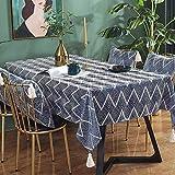 Kuchisity Tischdecke, Leinenoptik Tischtuch Wasserabweisend Drucken Tischdecke, Rechteckige Quaste Tischdecke Abwaschbar Größe Wählbar für Home Küche Dekoration (Blue, 135 * 220cm)