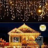 LED Lichtervorhang Warmweiß 400 Leds Lichterkette 10M mit Fernbedienung Deko 8 Modi IP65 Wasserdicht für Weihnachten Balkon Hochzeit (LED Lichtervorhang)