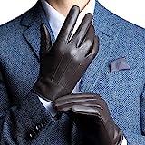 FLY HAWK warm gefütterte Handschuhe aus Echtem Leder Herren Lederhandschuhe für Touch Screen geeignet,Braun,XL