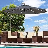 Swing&Harmonie Sonnenschirm mit LED Beleuchtung Ampelschirm 300cm / 350cm Solar Garten Schirm Pavillon (Ø 300cm, Anthrazit)